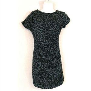Sea New York Black Leopard Ruched Mini Dress